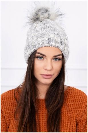 Pilka žieminė kepurė K157