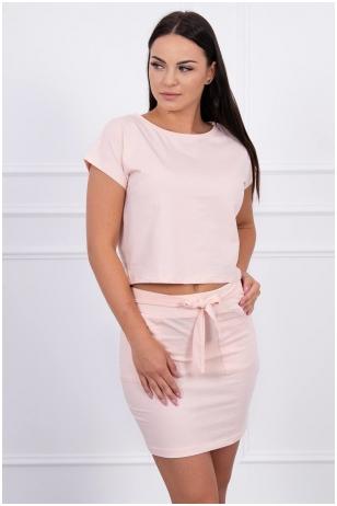 Šviesiai rožinis moteriškas kostiumėlis MOD424