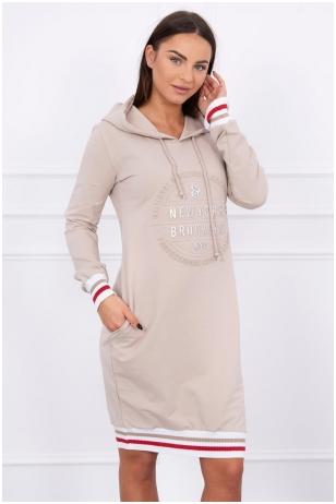 Rusvai gelsvos spalvos suknelė MOD097