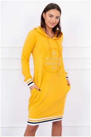 Garstyčių spalvos suknelė MOD097