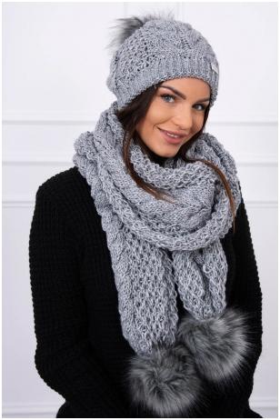 Tamsiai pilka žieminė kepurė ir šalikas K110