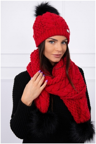 Raudona žieminė kepurė ir šalikas K110