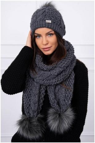 Grafito spalvos žieminė kepurė ir šalikas K110