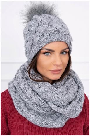Tamsiai pilka žieminė kepurė ir šalikas K112
