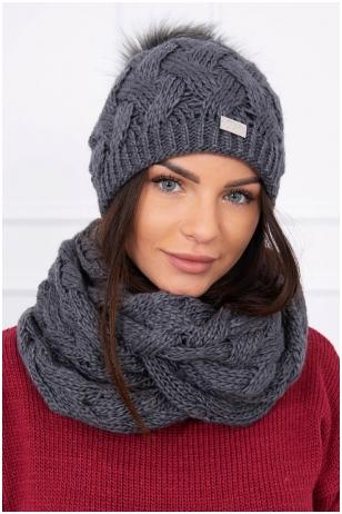 Grafito spalvos žieminė kepurė ir šalikas K112