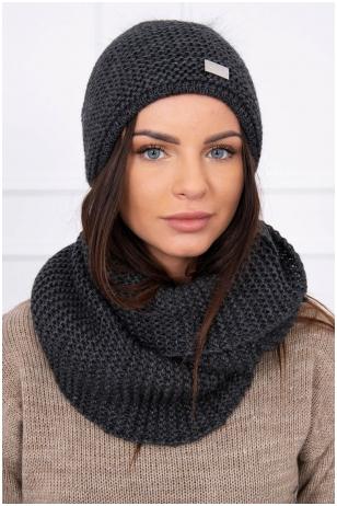 Grafito spalvos žieminė kepurė ir šalikas K113