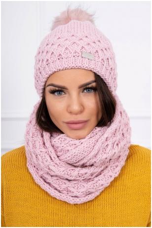 Šviesiai rožinė žieminė kepurė ir šalikas K119