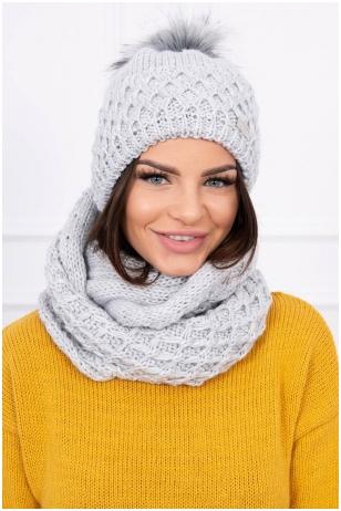 Šviesiai pilka žieminė kepurė ir šalikas K119