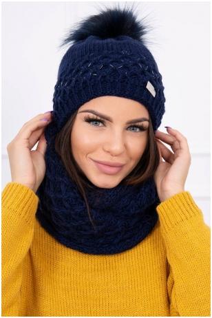 Tamsiai mėlyna žieminė kepurė ir šalikas K119