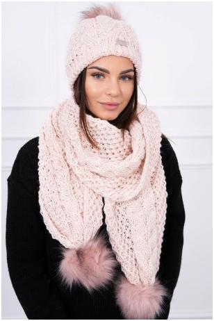 Šviesiai rožinės spalvos žieminė kepurė ir šalikas K110