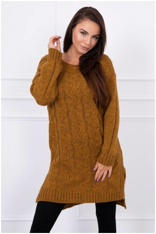 Moro spalvos ilgas megztinis MOD019