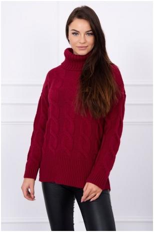 Kaštoninės spalvos megztinis MOD044