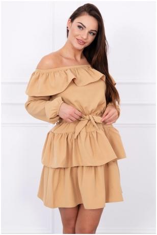 Garstyčių spalvos suknelė MOD067