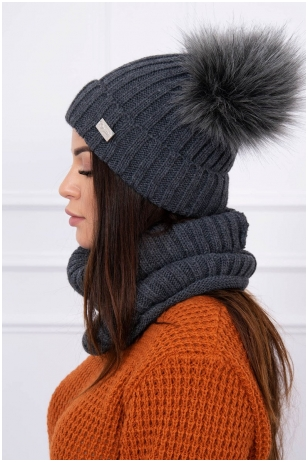 Grafito spalvos žieminė kepurė ir šalikas K120