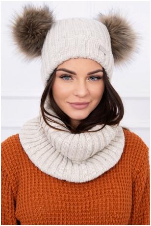 Šviesiai smėlinės spalvos žieminė kepurė ir šalikas K120
