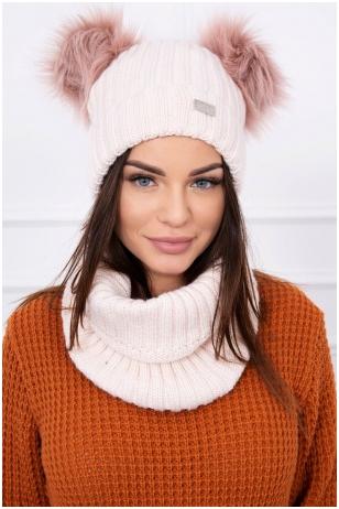 Šviesiai rožinės spalvos žieminė kepurė ir šalikas K120