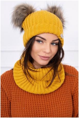 Garstyčių spalvos žieminė kepurė ir šalikas K120