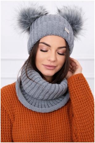 Tamsiai pilka žieminė kepurė ir šalikas K120