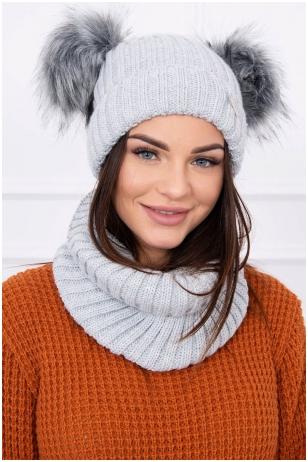 Šviesiai pilka žieminė kepurė ir šalikas K120