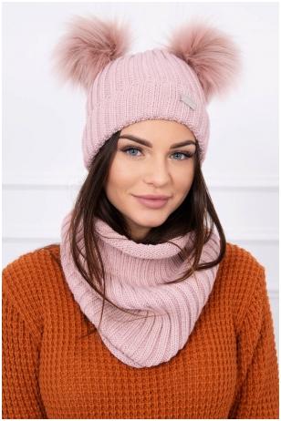 Nude spalvos žieminė kepurė ir šalikas K120