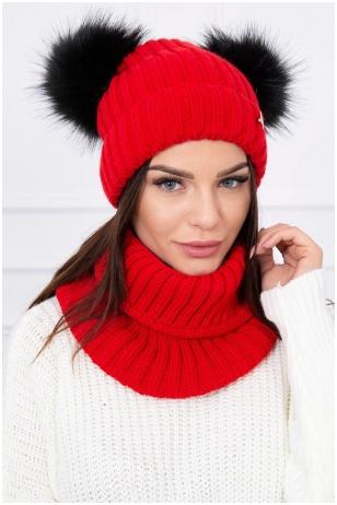 Raudona žieminė kepurė ir šalikas K120