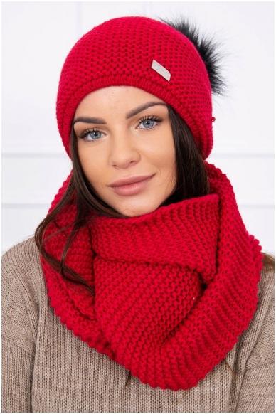Raudona žieminė kepurė ir šalikas K113