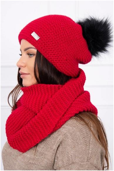 Raudona žieminė kepurė ir šalikas K113 2