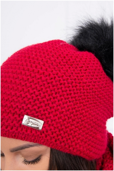 Raudona žieminė kepurė ir šalikas K113 3