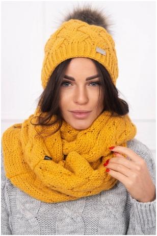 Garstyčių spalvos žieminė kepurė ir šalikas K112