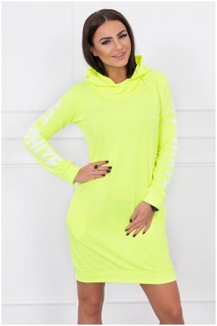 Neoninė geltona suknelė MOD025