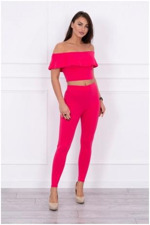 Avietinės spalvos moteriškas kostiumėlis MOD015