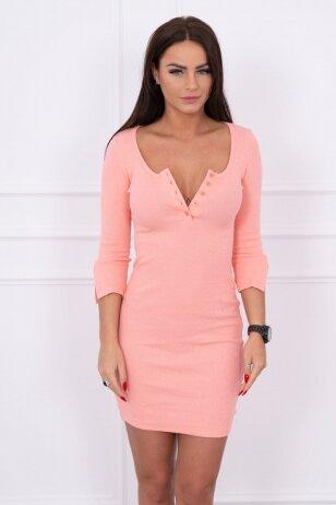 Abrikosinės spalvos suknelė MOD217