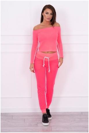 Rožinės neoninės spalvos sportinis kostiumas MOD165