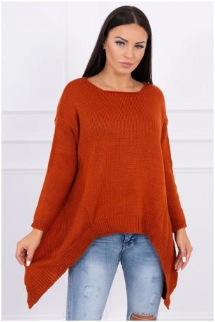 Tamsiai oranžinės spalvos megztinis MOD311