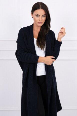 Tamsiai mėlynas ilgas megztinis kardiganas MOD319