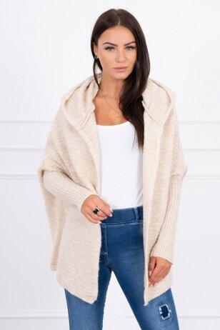 Šviesiai smėlinės spalvos megztinis kardiganas MOD378