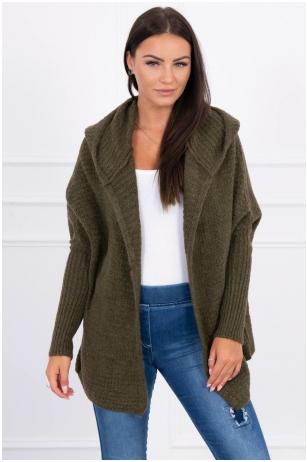Chaki spalvos megztinis kardiganas MOD378
