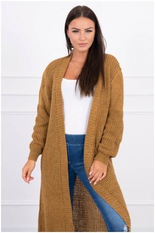 Šviesiai rudas ilgas megztinis kardiganas MOD307