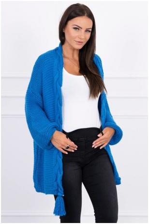 Mėlynas megztinis kardiganas MOD382