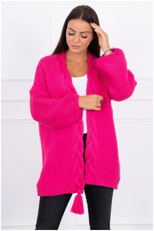 Rožinės spalvos megztinis kardiganas MOD382