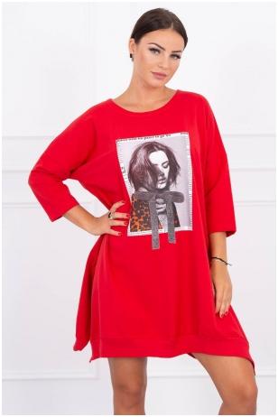 Raudona suknelė tunika MOD461