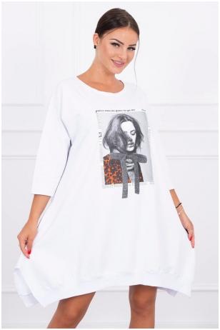 Balta suknelė tunika MOD461