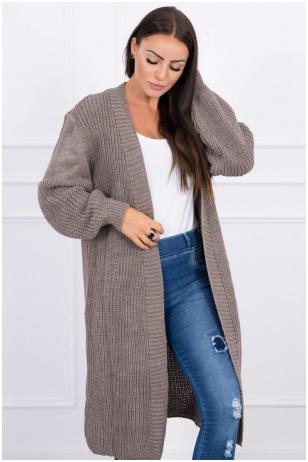 Kapučino spalvos ilgas megztinis kardiganas MOD307