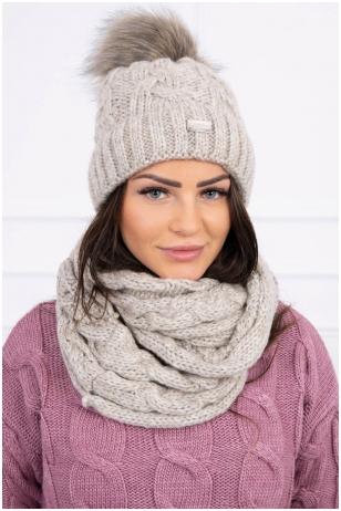 Šviesiai smėlinė žieminė kepurė ir šalikas K127