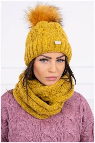 Garstyčių spalvos žieminė kepurė ir šalikas K127