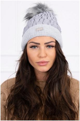 Šviesiai pilka žieminė kepurė K160
