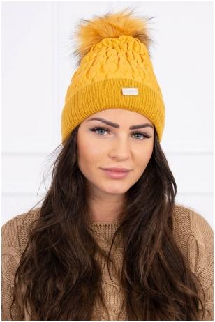 Garstyčių spalvos žieminė kepurė K160