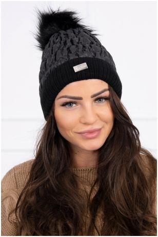 Juoda žieminė kepurė K160