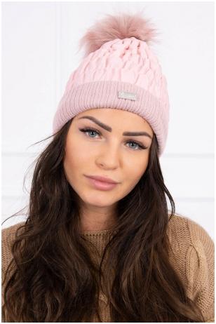 Šviesiai rožinė žieminė kepurė K160