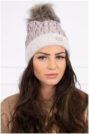 Smėlinės spalvos žieminė kepurė K160
